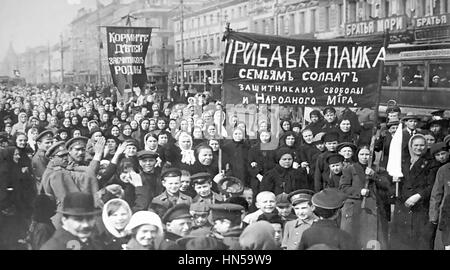 PUTILOV STRIKE 23 February 1917 by workers at the Putilov Mill in Petrograd (now St. Petersburg). Women strikers - Stock Photo