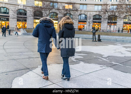 Washington DC, USA - December 29, 2016: Navy yard memorial with couple walking on Pennsylvania avenue in downtown - Stock Photo
