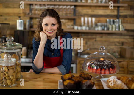 Portrait of waitress standing behind the counter in cafe - Stock Photo
