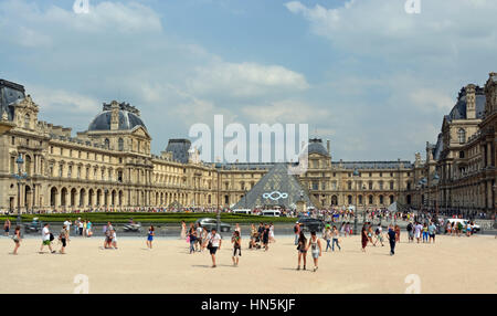 Paris, France - July 24, 2013: Panorama of Visitors to the Louvre Art Gallery on a hot Summer afternoon in Paris. - Stock Photo