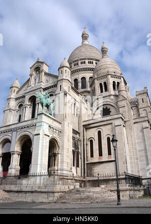 The Catholic church of Sacre Coeur at the top of  Montmartre District in Paris France.