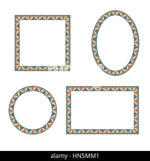 Frame set. Different shape frames collection. Vector set of vintage photo frames in oriental style with antique - Stock Photo
