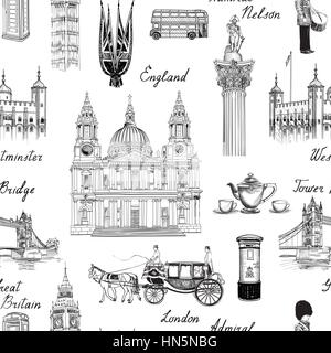 London landmark seamless pattern. Doodle travel Europe sketchy lettering. Famous architectural monuments  and symbols. - Stock Photo