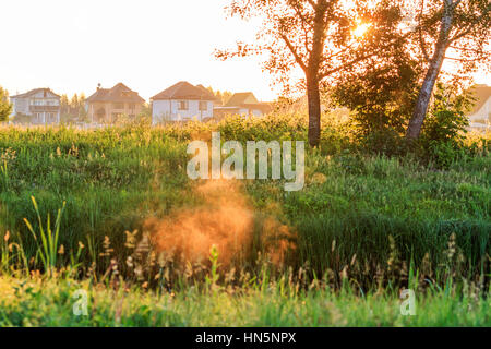 Cottages near the river at sunrise in fog,architecture, green area, beautiful light - Stock Photo