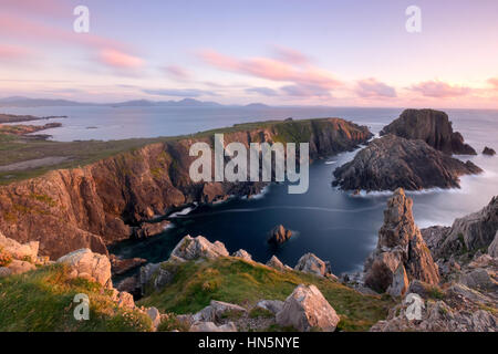 Sunset casts beautiful light over Malin Head on the North West Tip of Ireland in Co. Donegal. This location was - Stock Photo