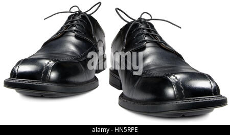 Classic men's black club shoes, isolated wide angle macro closeup - Stock Photo