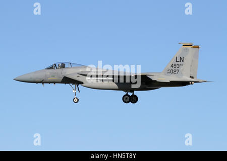 F-15C 84-0027 from the 493rd Fighter Squadron, which is assigned to the 48th Fighter Wing at RAF Lakenheath. It - Stock Photo
