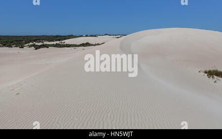 Big white sand dune - Little Sahara, Kangaroo Island, South Australia - Stock Photo