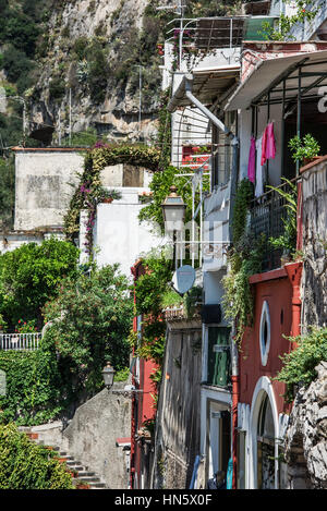 Coastal resort village of Positano, Amalfi Coast, Italy - Stock Photo