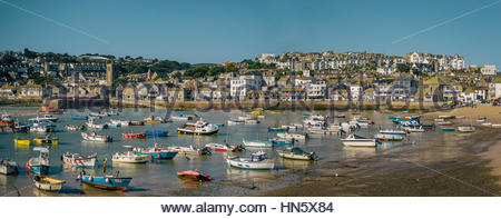St Ives harbour in Cornwall, UK - Stock Photo
