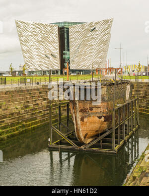 Titanic Belfast is a tourist attraction and museum at the former Harland & Wolff shipbuilding yards in Belfast's - Stock Photo