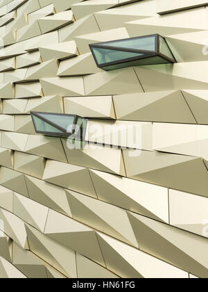 Detail of the cladding of Titanic Belfast museum at the former Harland & Wolff shipbuilding yards in Belfast's 'Titanic - Stock Photo