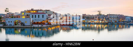 RETHYMNO, GREECE - OCTOBER 15, 2013: The  panoramic view on biggest tourist attraction - old Venetian port with - Stock Photo