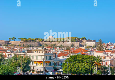 RETHYMNO, GREECE - OCTOBER 15, 2013: The main landmark of the city is Fortezza - old venetian citadel built on the - Stock Photo