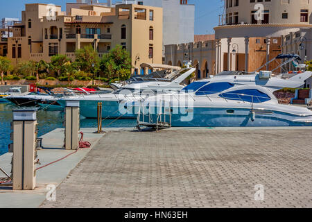Scenic view to marina and yachts in Tala Bay, Aqaba, Jordan - Stock Photo