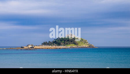 United Kingdom, South West England, Cornwall, Marazian, view of St. Michael's Mount from Marazion Beach - Stock Photo