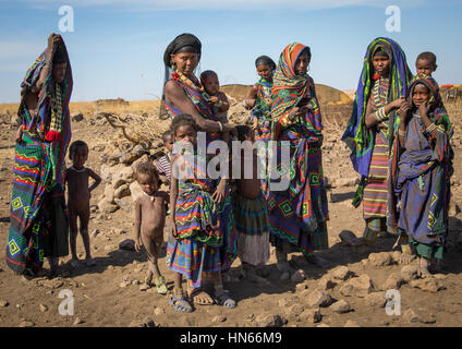 Portrait of an Issa tribe family, Afar region, Yangudi Rassa National Park, Ethiopia - Stock Photo