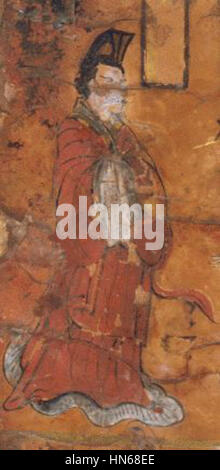 """Northern Wei, A Man from """"Virtuous Women of Ancient Cathay"""". Lacquer painting over wood - Stock Photo"""