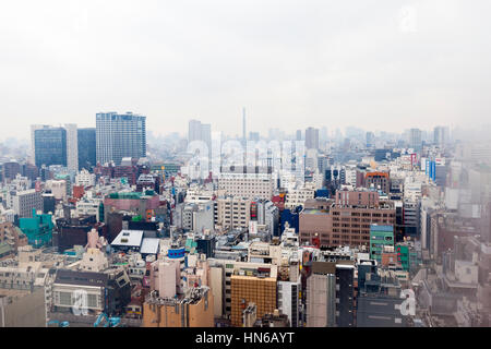 Tokyo, Japan - March 2, 2012: Elevated view of the Tokyo skyline taken through the window of a Shinjuku hotel room - Stock Photo