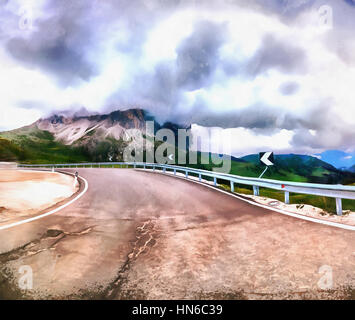 The works in the style of watercolor painting. Road in the mount - Stock Photo