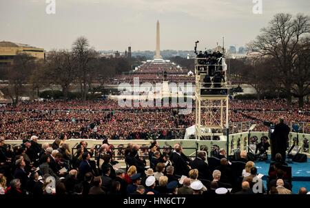 A crowd gathers in front of the Washington Monument during the 58th Presidential Inauguration of Donald Trump January - Stock Photo