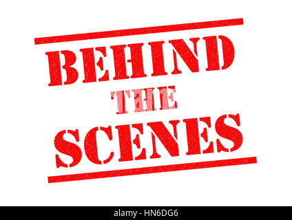 BEHIND THE SCENES red Rubber Stamp over a white background. - Stock Photo