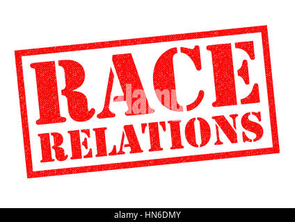 RACE RELATIONS red Rubber Stamp over a white background. - Stock Photo