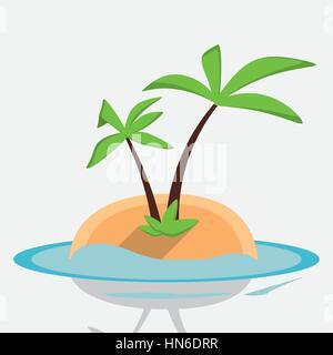 desert island palm sea design - Stock Photo