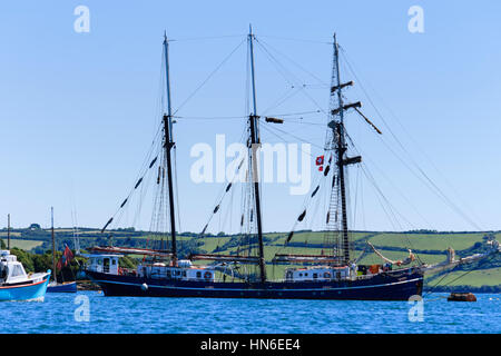 Swiss registered 3 masted tall ship, Salomon, moored in the Penryn River, Falmouth, Cornwall, UK, June 2010 - Stock Photo