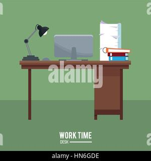 work time desk laptop lamp stack documents green background - Stock Photo
