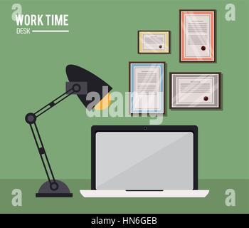 work time desk laptop lamp certificate - Stock Photo