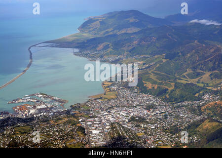 Aerial View of Nelson City, Port, Marina and Surrounding Hills,  New Zealand. - Stock Photo
