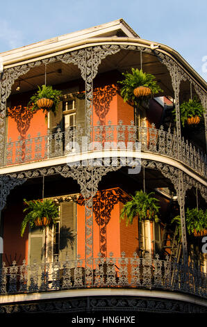 New Orleans, USA - July 13, 2015: A French-inspired building with iron balconies in French Quarter, New Orleans, - Stock Photo