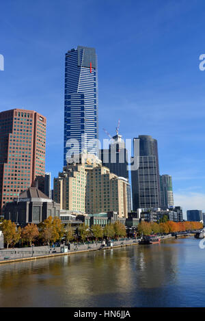 Melbourne, Australia - May 14, 2014: The 88 story Eureka Tower building, on the South Bank of the Yarra River in - Stock Photo