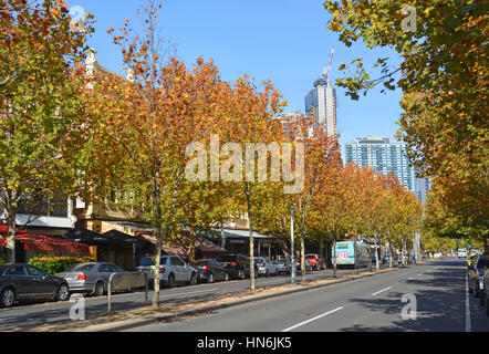 Melbourne, Australia - May 14, 2014: Lygon Street in Autumn - home to many of Melbourne's famous restaurants, cafes - Stock Photo