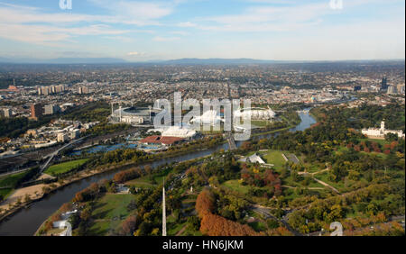 Aerial View of Melbourne's Eastern Suburbs including MCG, Rod Laver Arena and Yarra River. - Stock Photo