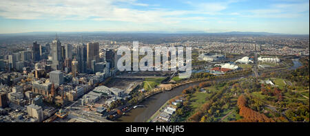 Melbourne, Australia - May 14, 2014: Aerial panoramic View of Melbourne City, Yarra River & Sports Stadiums including - Stock Photo