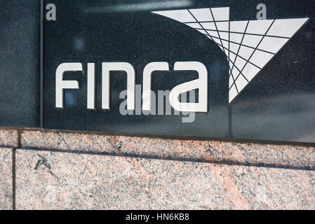 New York, USA - June 18, 2016: Sign on the building of Financial Industry Regulatory Authority, or Finra, in New - Stock Photo