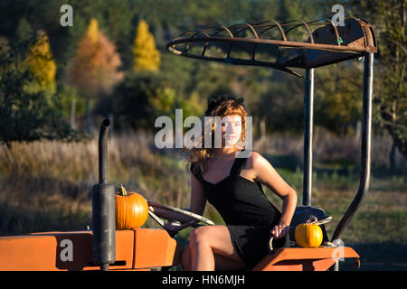 Young female sitting on tractor in rural landsape in autumn with pumpkins - Stock Photo