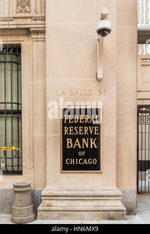 Chicago, USA - May 30, 2016: Federal Reserve sign, logo and text with La Salle street - Stock Photo
