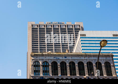 Chicago, USA - May 30, 2016: Logo of Chase Bank on an office skyscraper along with other buildings - Stock Photo