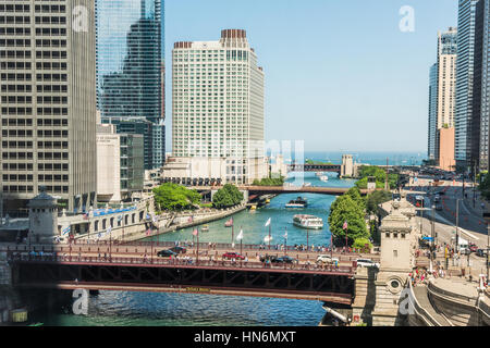 Chicago, USA - May 30, 2016: Aerial view of Lake Michigan, DuSable bridge and Wacker Drive with many skyscrapers, - Stock Photo