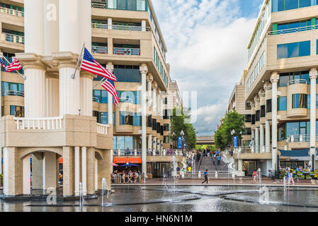 Washington DC, USA - August 5, 2016: Georgetown outdoor mall with restaurants and large fountain on Potomac riverfront - Stock Photo