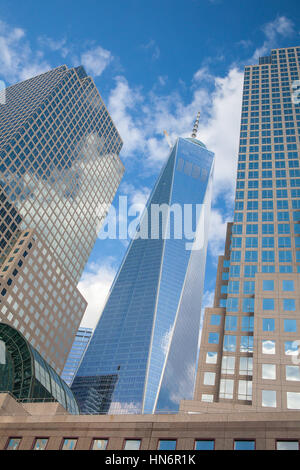 New York, USA - July 30, 2013: Battery Park is a 25 acre public park located at the Battery, the southern tip of - Stock Photo
