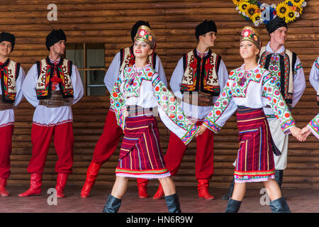 Silver Spring, USA - September 17, 2016: Ukraina School of Dance Ensemble teens from Toronto, Canada dressed in - Stock Photo