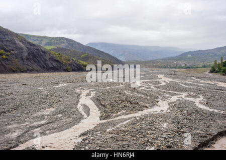 Valley with river in summer in Lahich, Azerbaijan - Stock Photo