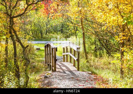 Small wooden bridge in autumn - Stock Photo