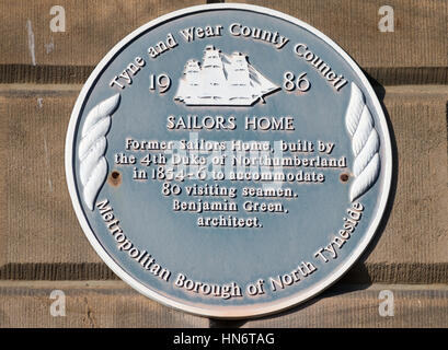Blue plaque on the wall of the former Sailors' Home, now Old Custom House flats, North Shields, England, UK - Stock Photo