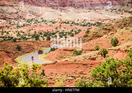 Capitol Reef National Park, USA - August 13, 2015: Emergency ambulance vehicle riding on the road - Stock Photo