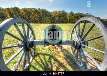 Old cannon in Manassas National Battlefield Park in Virginia where the Bull Run battle was fought - Stock Photo